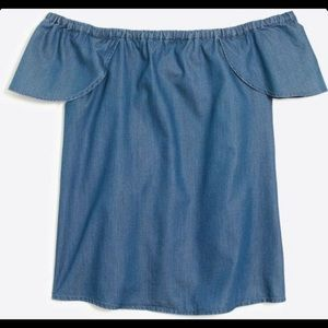 J. Crew Off Shoulder Chambray Blouse